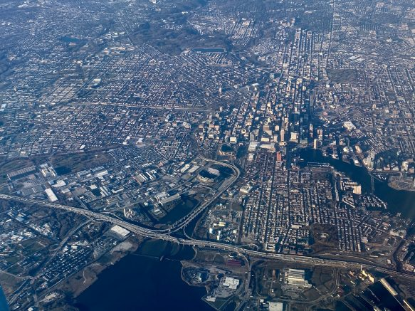 Aerial near Baltimore, Maryland pictured from a plane. (Photo by DANIEL SLIM/AFP via Getty Images)