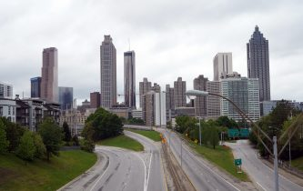 A deserted highway leading to the city of Atlanta is seen during the novel coronavirus pandemic in Atlanta, Georgia on April 23, 2020. - The worldwide death toll from the novel coronavirus pandemic rose to 186,462 on April 23, according to a tally from official sources compiled by AFP at 1900 GMT. (Photo by Tami Chappell / AFP) (Photo by TAMI CHAPPELL/AFP via Getty Images)