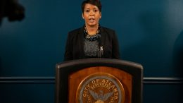 Mayor Keisha Lance Bottoms speaks at a press conference on March 17, 2021 in Atlanta, Georgia. Suspect Robert Aaron Long, 21, was arrested after a series of shootings at three Atlanta-area spas left eight people dead on Tuesday night, including six Asian women. (Photo by Megan Varner/Getty Images)
