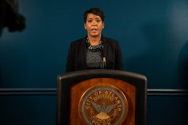 Mayor Keisha Lance Bottoms speaks at a press conference after a series of shootings at three Atlanta-area spas left eight people dead. (Photo by Megan Varner/Getty Images)