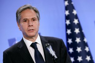 US Secretary of State Antony Blinken speaks during a press conference with transatlantic alliance NATO's chief on April 14, 2021 at NATO's headquarters in Brussels, as foreign ministers of the US, Britain, France and Germany hold talks today on Afghanistan, after the United States announced the withdrawal of all its troops from the country by September 11. (Photo by Kenzo Tribouillard / POOL / AFP) (Photo by KENZO TRIBOUILLARD/POOL/AFP via Getty Images)