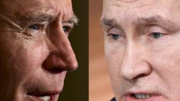 (COMBO) This combination of pictures created on June 07, 2021 shows Russian President Vladimir Putin (R) addressing his annual press conference in Moscow on December 19, 2019 and US President Joe Biden swearing in presidential appointees during a virtual ceremony in the State Dining Room of the White House in Washington, DC, after being sworn in at the US Capitol on January 20, 2021. - Russian President Vladimir Putin said on June 4, 2021 he is hoping to improve deeply damaged ties with the United States when he holds his first summit with US counterpart Joe Biden later this month. The face-to-face meeting in Geneva on June 16 comes amid the biggest crisis in ties between the two countries in years, with tensions high over a litany of issues including hacking allegations, human rights and election meddling. (Photo by Jim WATSON and Alexander NEMENOV / AFP) (Photo by JIM WATSON,ALEXANDER NEMENOV/AFP via Getty Images)