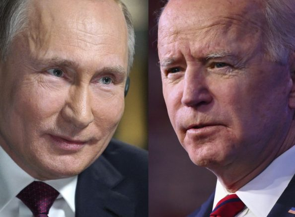 (COMBO) This combination of pictures created on June 07, 2021 shows Russia's President Vladimir Putin in Moscow and President Joe Biden in Wilmington, Delaware. (Photo by Angela WEISS and Alexey DRUZHININ / AFP) (Photo by ANGELA WEISS,ALEXEY DRUZHININ/AFP via Getty Images)