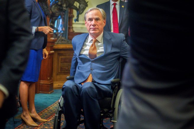 Texas Gov. Greg Abbott leaves a press conference in Austin, Texas. (Photo by Montinique Monroe/Getty Images)
