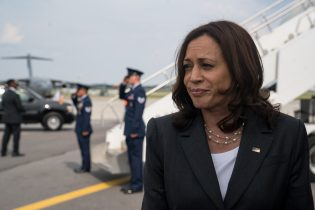 Kamala Harris speaks with the media at Hartsfield Jackson International Airport before boarding Air Force Two back to Washington DC on June 18, 2021 in Atlanta, Georgia. Vice President Harris is visiting Atlanta as part of a nationwide tour to encourage Americans to get vaccinated. (Photo by Megan Varner/Getty Images)