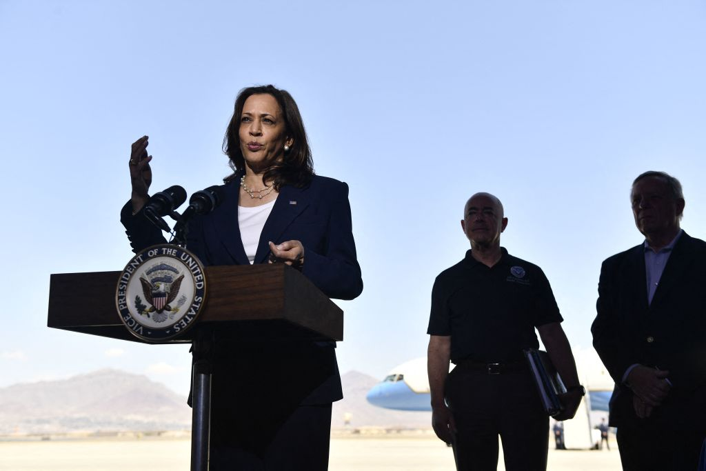 Secretary Of Homeland Security Alejandro Mayorkas (2nd-R) and Senator Dick Durbin (D-IL)(R) listen as US Vice President Kamala Harris speaks during a press conference at El Paso International Airport, on June 25, 2021 in El Paso, Texas. - Vice President Kamala Harris on Friday, visited a Customs and Border Protection processing facility, and met with advocates and NGOs. (Photo by Patrick T. FALLON / AFP) (Photo by PATRICK T. FALLON/AFP via Getty Images)
