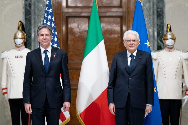 US Secretary of State Antony Blinken (L) poses with Italian President Sergio Mattarella during their meeting at the at Quirinale Palace in Rome on June 28, 2021 as part of Blinken's week long trip in Europe. (Photo by Andrew Harnik / POOL / AFP) (Photo by ANDREW HARNIK/POOL/AFP via Getty Images)