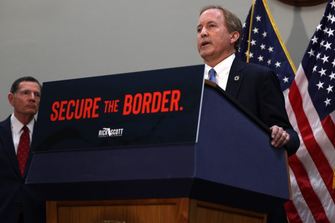 Texas Attorney General Ken Paxton speaks at a news conference on the U.S. Southern Border and President Joe Biden's immigration policies, in the Hart Senate Office Building in Washington, DC. (Photo by Anna Moneymaker/Getty Images)