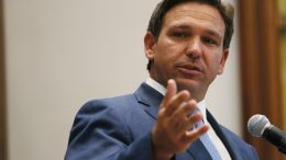 SURFSIDE, FLORIDA - JUNE 14: Florida Gov. Ron DeSantis speaks during a press conference at the Shul of Bal Harbour on June 14, 2021 in Surfside, Florida. The governor spoke about the two bills he signed HB 529 and HB 805. HB 805 ensures that volunteer ambulance services, including Hatzalah, can operate. HB 529 requires Florida schools to hold a daily moment of silence. (Photo by Joe Raedle/Getty Images)