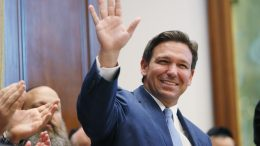Fla. Gov. Ron DeSantis arrives to speak during a press conference at the Shul of Bal Harbour on June 14, 2021 in Surfside, Florida. The governor spoke about the two bills he signed HB 529 and HB 805. HB 805 ensures that volunteer ambulance services, including Hatzalah, can operate. HB 529 requires Florida schools to hold a daily moment of silence. (Photo by Joe Raedle/Getty Images)