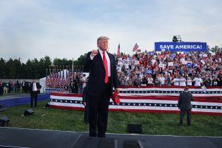 President Donald Trump arrives for a rally at the Lorain County Fairgrounds on June 26, 2021 in Wellington, Ohio. Trump is in Ohio to campaign for his former White House advisor Max Miller. Miller is challenging incumbent Rep. Anthony Gonzales in the 16th congressional district GOP primary. This is Trump's first rally since leaving office. (Photo by Scott Olson/Getty Images)