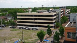 This photo shows the scene of an officer involved shooting in a parking ramp in Minneapolis, Thursday, June 3, 2021. One person was killed Thursday when authorities who were part of a task force that included U.S. Marshals fired their weapons after the person displayed a handgun in Minneapolis' Uptown neighborhood, the U.S. Marshals said. (Renée Jones Schneider/Star Tribune via AP)