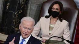 Kamala Harris watches Joe Biden deliver his address to a joint session of Congress on Wednesday night. (Jim Watson/Pool via AP)