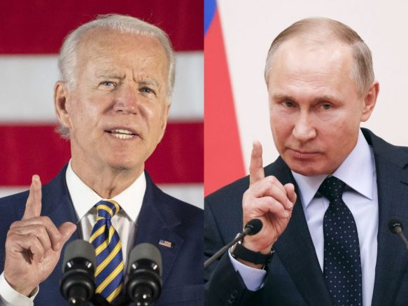 (COMBO) This combination of files pictures created on June 7, 2021 shows then Democratic presidential candidate Joe Biden speaking about reopening the country during a speech in Darby, Pennsylvania, on June 17, 2020 and Russian President Vladimir Putin delivering a speech during a meeting with Russian athletes and team members, who will take part in the upcoming 2018 Pyeongchang Winter Olympic Games, at the Novo-Ogaryovo state residence outside Moscow on January 31, 2018. - Russian President Vladimir Putin said on June 4, 2021 he is hoping to improve deeply damaged ties with the United States when he holds his first summit with US counterpart Joe Biden later this month. The face-to-face meeting in Geneva on June 16 comes amid the biggest crisis in ties between the two countries in years, with tensions high over a litany of issues including hacking allegations, human rights and election meddling. (Photo by Jim WATSON and Grigory DUKOR / various sources / AFP) (Photo by JIM WATSON,GRIGORY DUKOR/AFP via Getty Images)