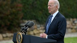 US President Joe Biden delivers a speech on the COVID-19 pandemic, in St Ives, Cornwall on June 10, 2021, ahead of the three-day G7 summit being held from 11-13 June. - G7 leaders from Canada, France, Germany, Italy, Japan, the UK and the United States meet this weekend for the first time in nearly two years, for the three-day talks in Carbis Bay, Cornwall. - (Photo by Brendan SMIALOWSKI / AFP) (Photo by BRENDAN SMIALOWSKI/AFP via Getty Images)