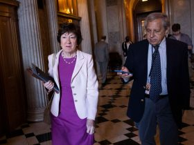 WASHINGTON, DC - JUNE 15: U.S. Sen. Susan Collins (R-ME) talks to members of the media as she makes her way to a Senate Republican luncheon at the U.S. Capitol Building on June 15, 2021 in Washington, DC. The Senate is in negotiations for a bipartisan infrastructure deal. (Photo by Kevin Dietsch/Getty Images)