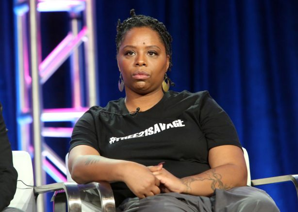 PASADENA, CALIFORNIA - FEBRUARY 11: Producer Patrisse Cullors attends the Viacom Winter TCA 2019 panel on February 11, 2019 in Pasadena, California. (Photo by Jesse Grant/Getty Images for Viacom)