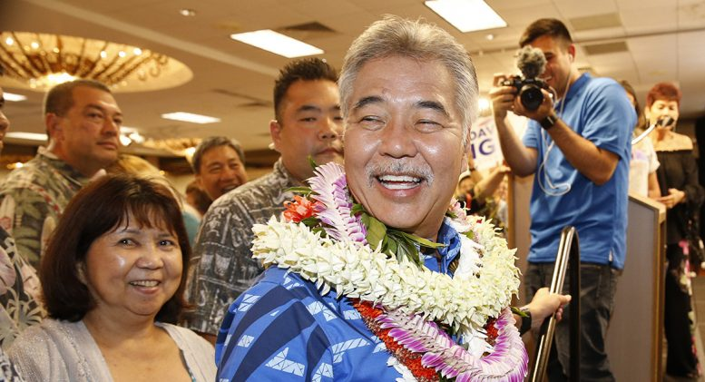 Hawaii Governor David Ige greets supporters at his Honolulu campaign headquarters.  (Marco Garcia / AP Photo)