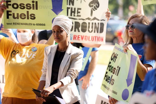 """WASHINGTON, DC - JUNE 29: Rep. Ilhan Omar (D-MN) speaks at an """"End Fossil Fuel"""" rally near the U.S. Capitol on June 29, 2021 in Washington, DC. Organized by Our Revolution, demonstrators called on Congress to take action in ending fossil fuel subsidies. (Photo by Anna Moneymaker/Getty Images)"""