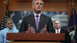 WASHINGTON, DC - SEPTEMBER 25: U.S. House Minority Leader Rep. Kevin McCarthy (R-CA) speaks as Rep. Jim Jordan (R-OH), and House Minority Whip Rep. Steve Scalise (R-LA) listen during a news conference at the U.S. Capitol September 25, 2019 in Washington, DC. House GOP leaders held a news conference to discuss Speaker of the House Pelosi's announcement of a formal impeachment inquiry into President Donald Trump. (Photo by Alex Wong/Getty Images)
