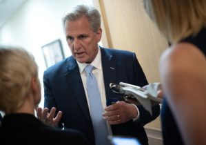 """WASHINGTON, DC - MAY 19: House Minority Leader Kevin McCarthy (R-CA) speaks with reporters after voting on the establishment of a commission to investigate the events of January 6 on May 19, 2021 in Washington, DC. When asked if he was worried about being subpoenaed if a commission was formed, McCarthy said """"I have no concern about that, but that's somebody playing politics with it, not wanting to get to the core of what happened."""" (Photo by Win McNamee/Getty Images)"""