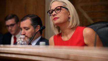 """WASHINGTON, DC - MAY 14: Senate Aviation and Space Subcommittee ranking member Sen. Kyrsten Sinema questions witnesses during a hearing in the Dirksen Senate Office Building on Capitol Hill on May 14, 2019 in Washington, DC. In the wake of President Donald Trump's orders to create a military Space Force, NASA Administrator Jim Bridenstine testified about """"The Emerging Space Environment: Operational, Technical, and Policy Challenges."""" (Photo by Chip Somodevilla/Getty Images)"""