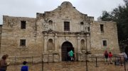 This Nov. 30, 2019 photo shows the church on the grounds of The Alamo in San Antonio, Texas. The remains of three people have been recovered from a burial room and the church. The Texas General Land Office said Friday, Dec. 13, 2019 that the remains believed to be an infant, a teenager or young adult and an adult were found in a burial room and Nave of the church during an archaeological exploration. The Alamo is the site of one of the most famous battles in American history in which nearly 200 Alamo defenders were killed in March 1836 in a battle with Mexican forces during the fight for Texas independence from Mexico (AP Photo/Ken Miller)
