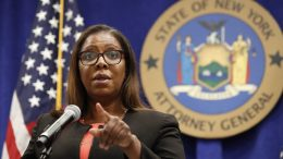In this Aug. 6, 2020 file photo, New York State Attorney General Letitia James takes a question at a news conference in New York. New York's attorney general sued the New York Police Department on Thursday, Jan. 14, 2021 alleging the rough treatment of protesters last spring in the wake of George Floyd's killing was part of a longstanding pattern of abuse that stemmed from inadequate training, supervision and discipline. (AP Photo/Kathy Willens, File)