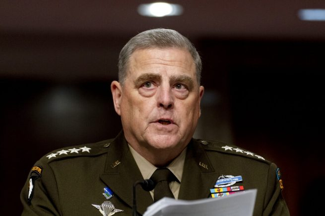 Chairman of the Joint Chiefs of Staff Gen. Mark Milley speaks at a Senate Armed Services budget hearing on Capitol Hill in Washington, Thursday, June 10, 2021. (AP Photo/Andrew Harnik)
