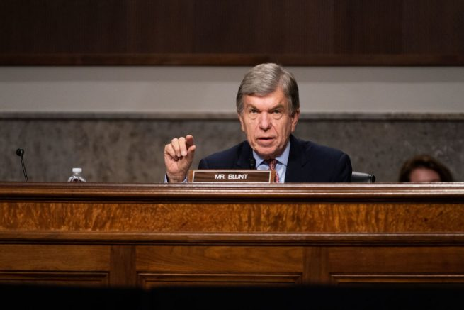 WASHINGTON, DC - SEPTEMBER 16: Subcommittee Chairman Roy Blunt, (R-MO), speaks during a hearing of the Senate Appropriations subcommittee reviewing coronavirus response efforts on September 16, 2020 in Washington, DC. (Photo by Anna Moneymaker-Pool/Getty Images)