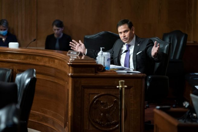 WASHINGTON, DC - MAY 26: Senator Marco Rubio (R-FL) questions witnesses during a Senate Appropriations Labor, Health and Human Services Subcommittee hearing looking into the budget estimates for National Institute of Health (NIH) and state of medical research n Capitol Hill, May 26, 2021 in Washington, DC. (Photo by Sarah Silbiger-Pool/Getty Images)