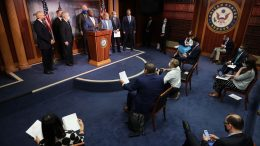 WASHINGTON, DC - JUNE 17: Sen. Tim Scott (R-SC) is joined by Senate Majority Leader Mitch McConnell (R-KY), Senate Judiciary Committee Chairman Lindsey Graham (R-SC), Sen. Shelley Moore Capito (R-WV), Sen. John Cornyn (R-TX), Sen. James Lankford (R-OK), Sen. Ben Sasse (R-NE) and Rep. Pete Stauber (R-MN) for a news conference to unveil the GOP's legislation to address racial disparities in law enforcement at the U.S. Capitol June 17, 2020 in Washington, DC. Scott, the Senate's lone black Republican, lead the effort to write the Just and Unifying Solutions to Invigorate Communities Everywhere (JUSTICE) Act, which discourages the use of chokeholds, requires police departments to release more information on use of force and no-knock warrants, and encourages body cameras and better training. (Photo by Chip Somodevilla/Getty Images)