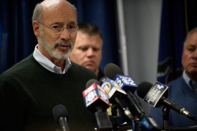 PITTSBURGH, PA - OCTOBER 27: Pennsylvania Governor Tom Wolf speaks to the media following a mass shooting at the Tree of Life Synagogue in the Squirrel Hill neighborhood on October 27, 2018 in Pittsburgh, Pennsylvania. According to reports, at least 12 people were shot, 4 dead and three police officers hurt during the incident. The shooter surrendered to authorities and was taken into custody. (Photo by Jeff Swensen/Getty Images)