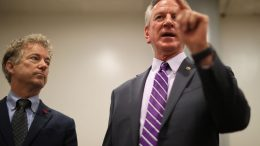 WASHINGTON, DC - MAY 28: Sen. Tommy Tuberville (R-AL) (R) and Sen. Rand Paul (R-KY) speak to reporters about why they and a small group of Republican senators are holding up votes in the Senate over opposition to a Chinese trade bill at the U.S. Capitol on May 28, 2021 in Washington, DC. The Endless Frontier Act is bipartisan legislation that aims to increase U.S. competitiveness with China on science and technology but some Republican senators say the bill has been rushed and disagree with the $120 billion price tag. (Photo by Chip Somodevilla/Getty Images)