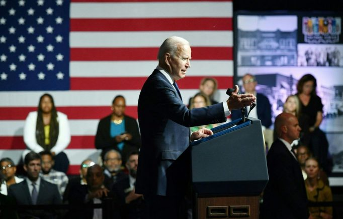 US President Joe Biden speaks during a commemoration of the 100th anniversary of the Tulsa Race Massacre at the Greenwood Cultural Center in Tulsa, Oklahoma, on June 1, 2021. - US President Joe Biden traveled Tuesday to Oklahoma to honor the victims of a 1921 racial massacre in the city of Tulsa, where African American residents are hoping he will hear their call for financial reparations 100 years on. (Photo by MANDEL NGAN / AFP) (Photo by MANDEL NGAN/AFP via Getty Images)