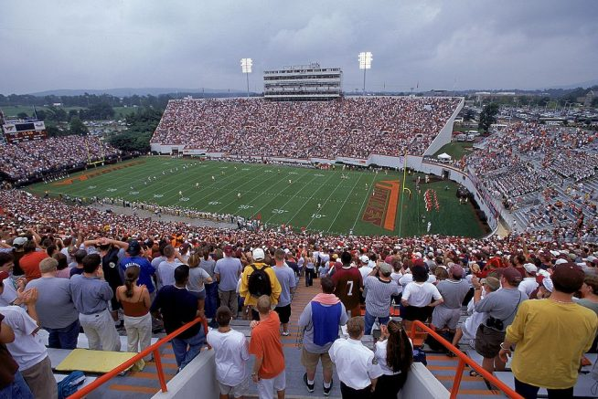 2 Sep 2000: A general view from the stands of Lane Stadium during the game between the Virginia Tech Hokies against the Akron Zips in Blackburg, Virginia. The Hokies defeated the Zips 52-23.Mandatory Credit: Doug Pensinger /Allsport