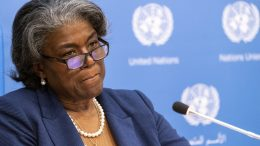 U.S. Ambassador to the United Nations, Linda Thomas-Greenfield speaks to reporters during a news conference, Monday, March 1, 2021, at United Nations headquarters.
