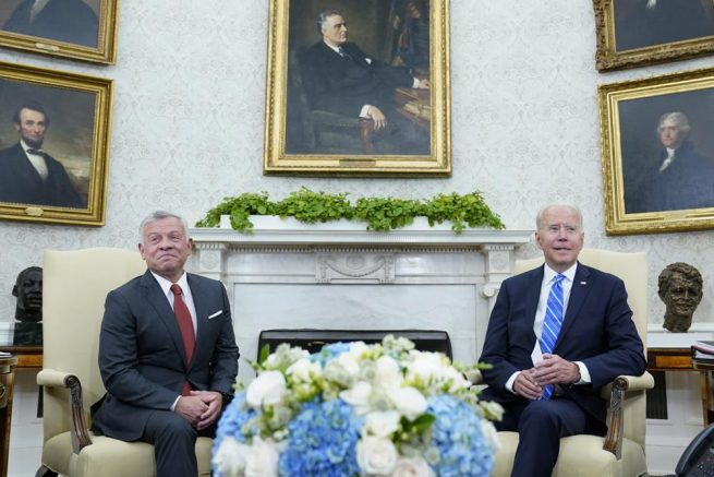 Joe Biden, right, meets with Jordan's King Abdullah II, left, in the Oval Office of the White House in Washington, Monday, July 19, 2021. (AP Photo/Susan Walsh)