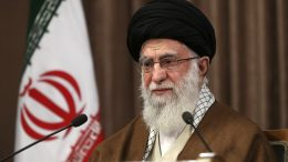 In this photo released by the official website of the office of the Iranian supreme leader, Supreme Leader Ayatollah Ali Khamenei addresses in a televised speech marking the annual Quds, or Jerusalem Day, in Tehran, Iran. (Office of the Iranian Supreme Leader via AP)