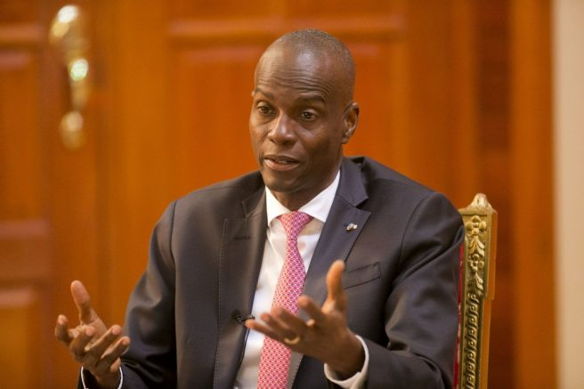 Haiti's President Jovenel Moise speaks during an interview at his home in Petion-Ville, a suburb of Port-au-Prince, Haiti. (AP Photo/Dieu Nalio Chery, File)