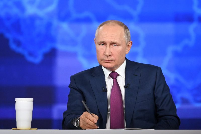 Russian President Putin takes part in an annual nationwide televised phone-in show in Moscow