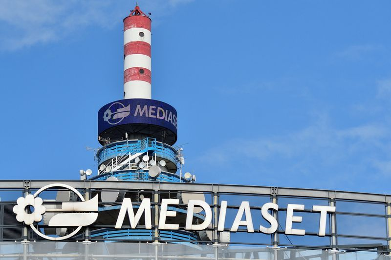 The Mediaset tower is seen in the headquarters ahead of the commercial broadcaster's annual general meeting in Cologno Monzese