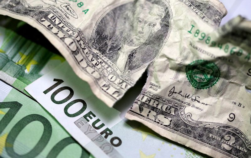 FILE PHOTO: U.S. dollar and euro banknotes are seen in this picture illustration