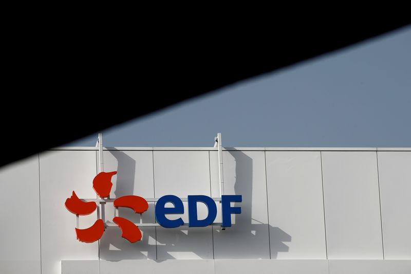 FILE PHOTO: Company logo for Electricite de France (EDF) is seen in Paris