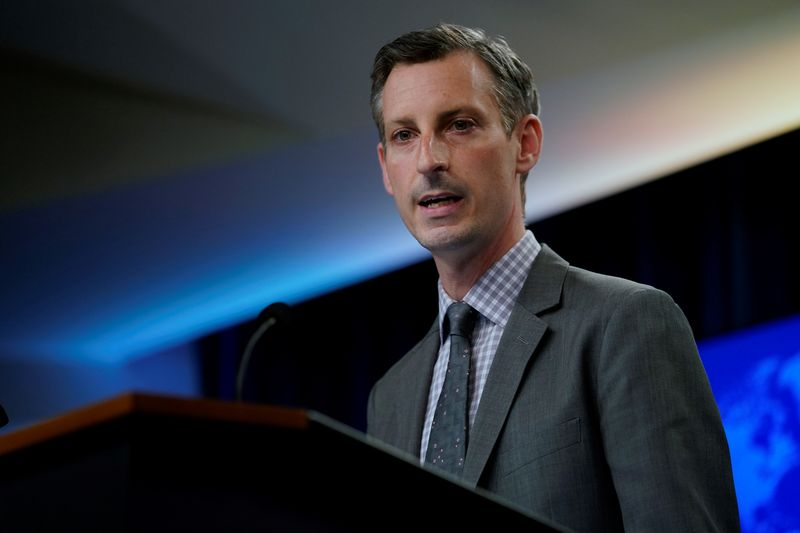 FILE PHOTO: U.S. State Department spokesman Ned Price speaks at the State Department in Washington