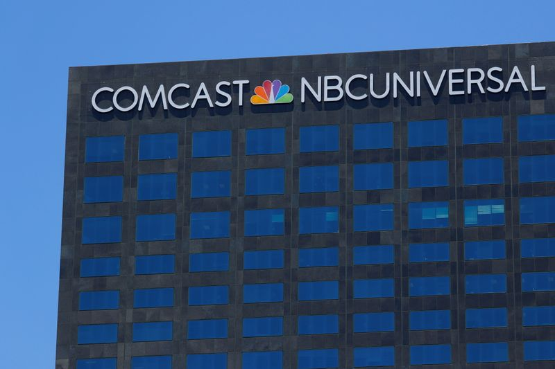 FILE PHOTO: The Comcast NBC Universal logo is shown on a building in Los Angeles, California