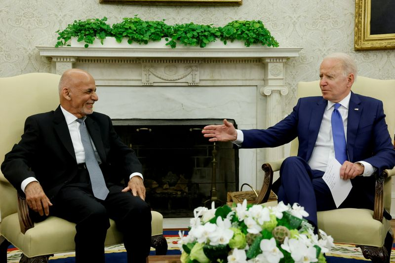 FILE PHOTO: U.S. President Biden meets with Afghan President Ghani and Chairman of Afghanistan's High Council for National Reconciliation Abdullah in Washington