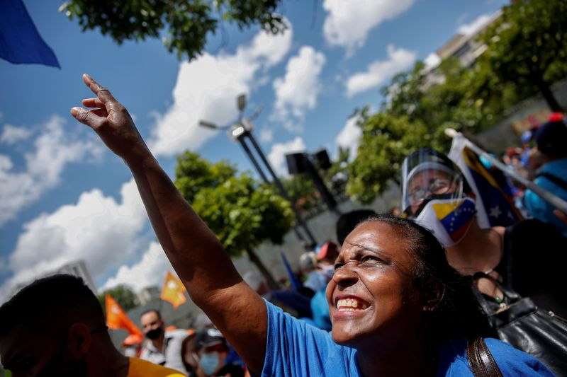 FILE PHOTO: A supporter of Venezuela's opposition attends a rally in Caracas