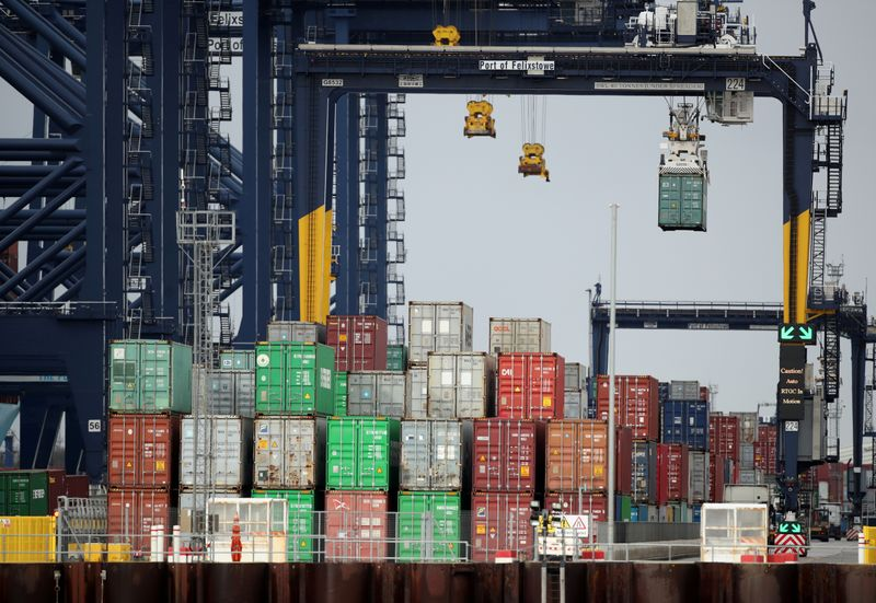 FILE PHOTO: Containers are stacked at the Port of Felixstowe