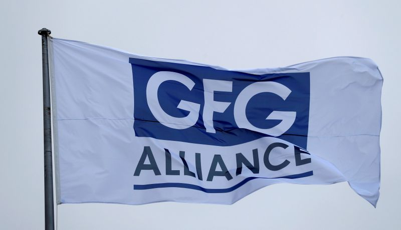 FILE PHOTO: The GFG Alliance flag flies at the completion of a 330 million pound deal to buy Britain's last remaining Aluminium smelter in Fort William Lochaber Scotland